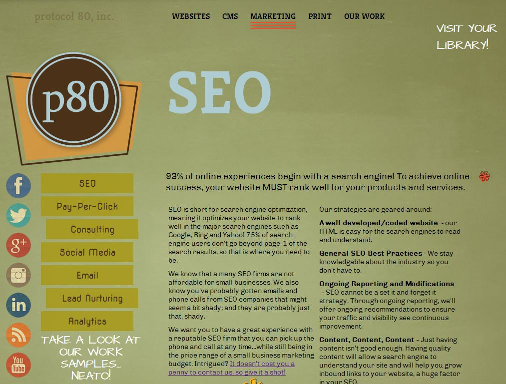 Website page about search engine optimization.