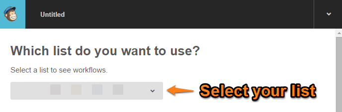 MailChimp Automation select list to target