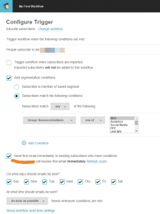 Configure mailchimp trigger for automated workflow screen