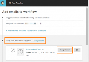 Mailchimp add emails to workflow screen