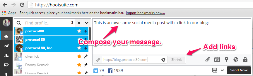 Compose a social update and add a link