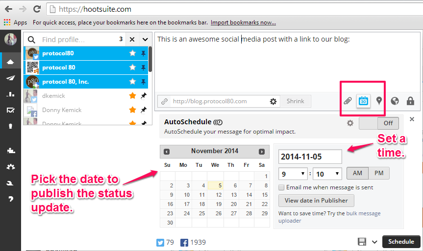 scheduling hootsuite status update