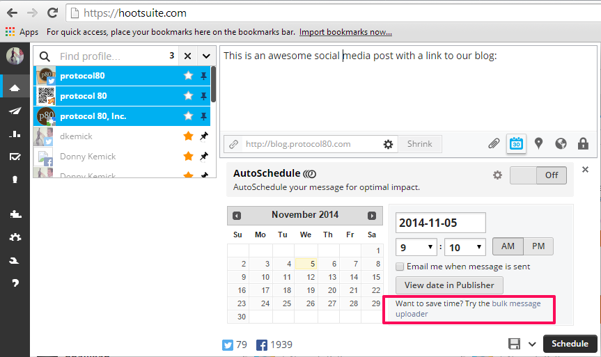Hootsuite want to try bulk uploader