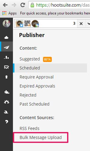 Hootsuite publisher sub menu