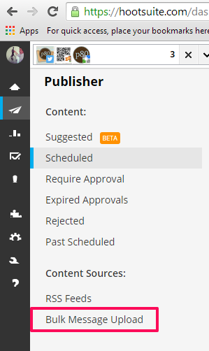 Hootsuite publisher sub menu