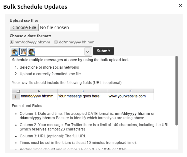 Hootsuite bulk upload window