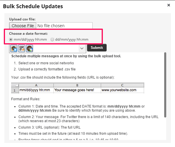 Hootsuite bulk upload date time format selection