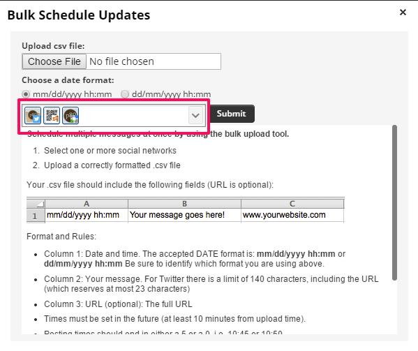 Hootsuite bulk uploader select social networks to include