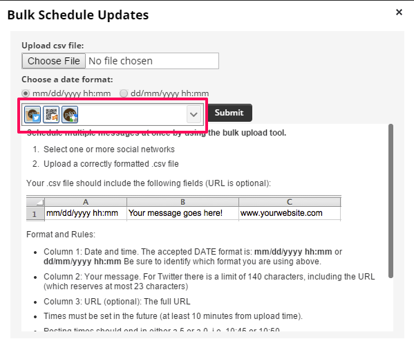 Hootsuite bulk uploader select social networks to include