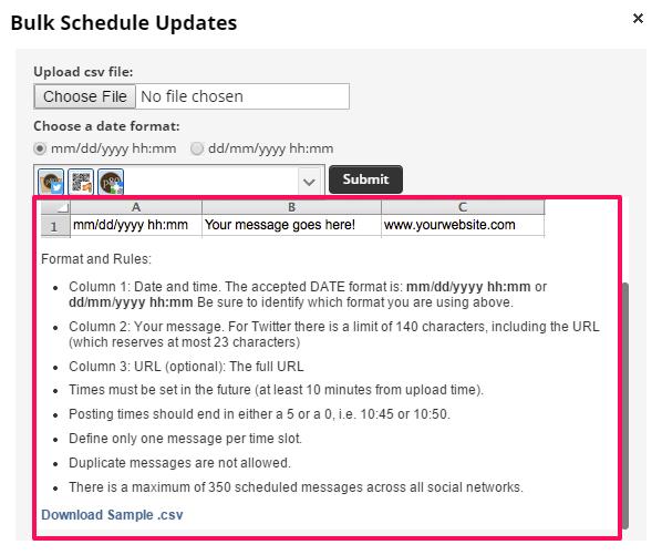 Bulk upload file and format rules