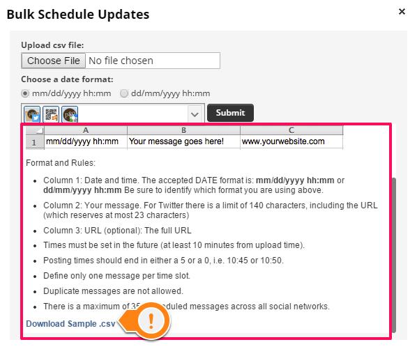 Hootsuite download sample csv for bulk uploading