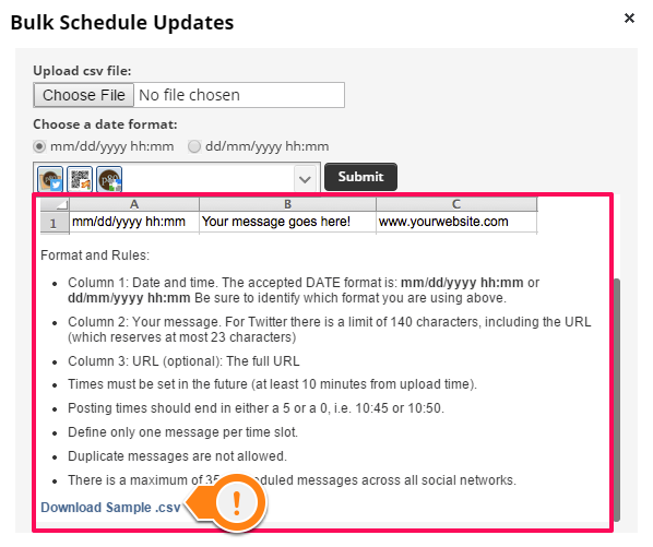 Hootsuite download sample csv for bulk uploading