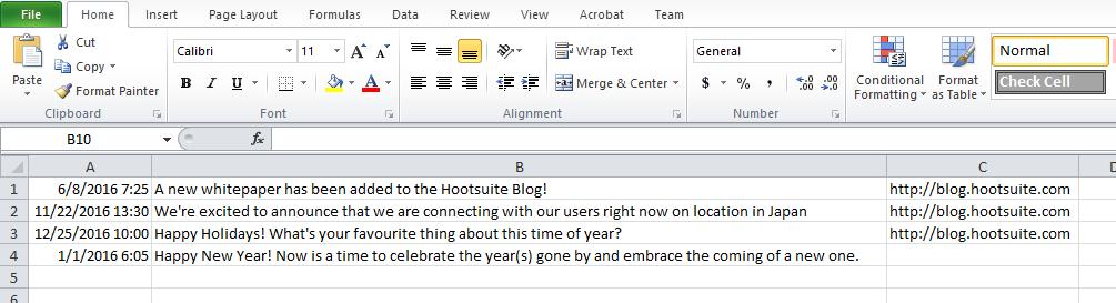 Hootsuite bulk upload sample CSV file in excel