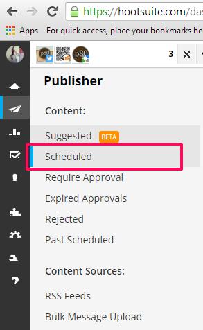 Hootsuite publisher scheduled nav
