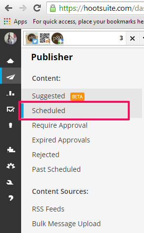 Hootsuite publisher scheduled nav