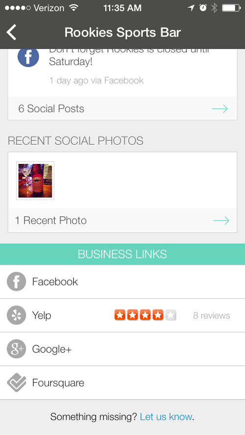 See that businesses social posts and reviews