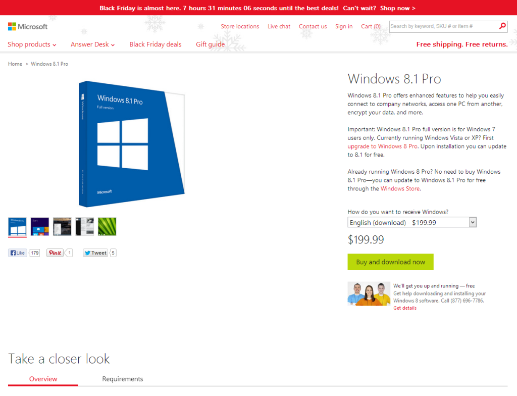 Landing Page to Buy Microsoft Windows