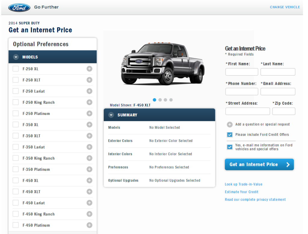 Ford F250 Landing Page
