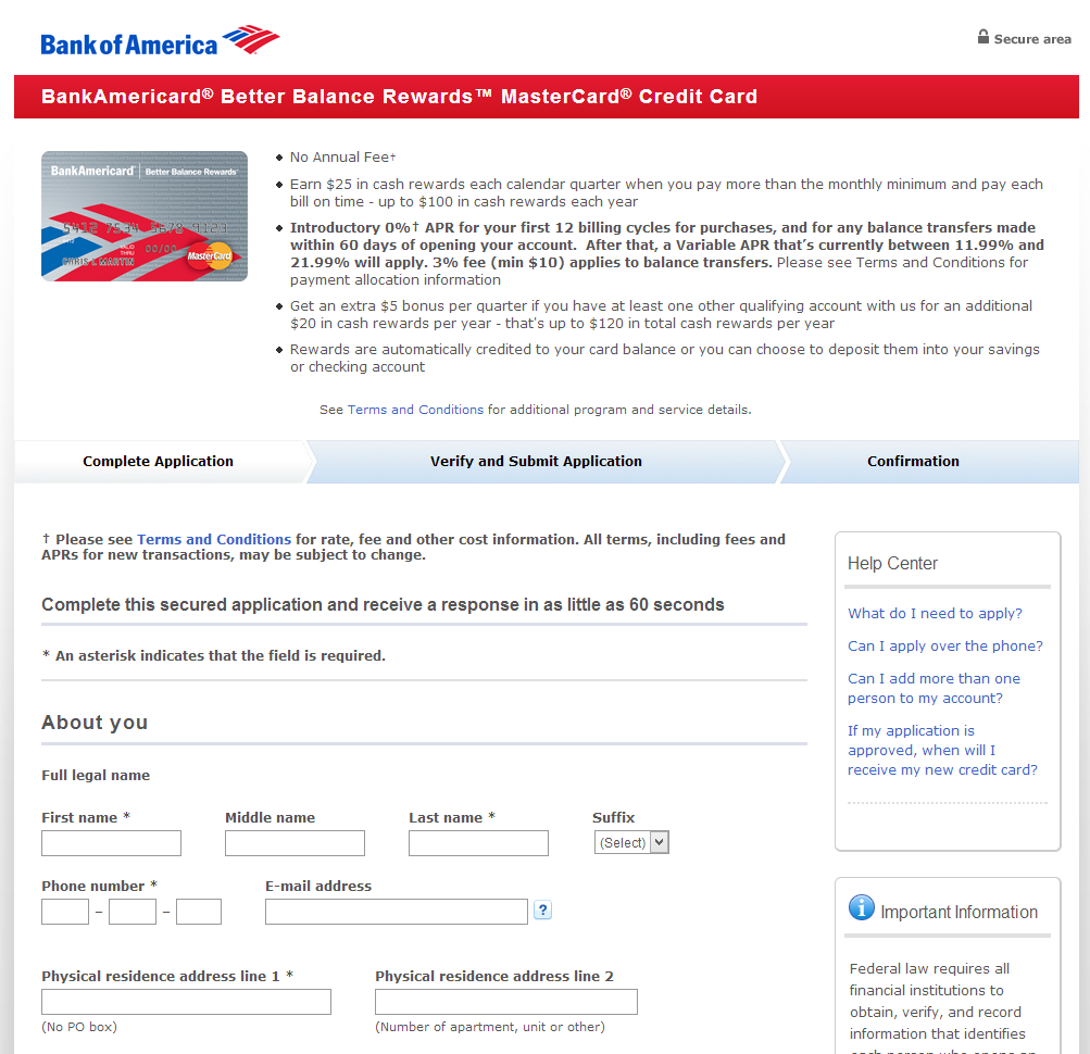 Bank of America Landing Page