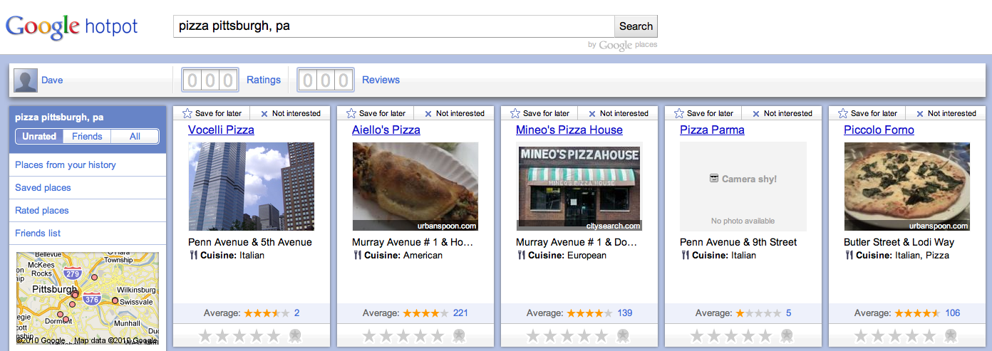 Google Hotpot Example - Pizza in Pittsburgh