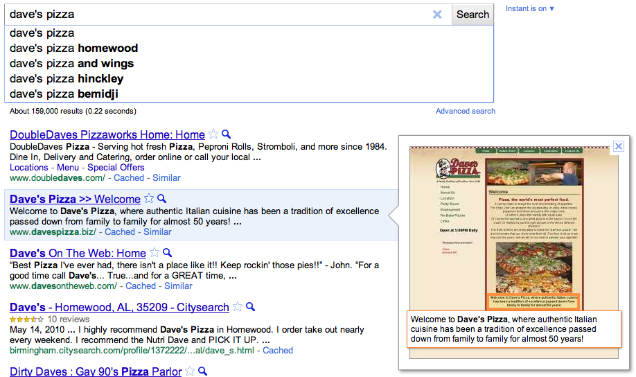 Google Instant Preview - Dave's Pizza