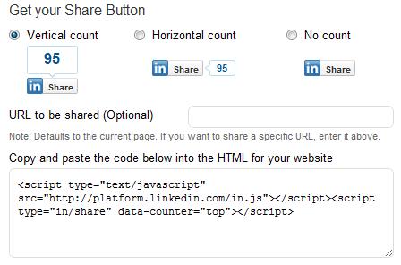 LinkedIn Share button Generator