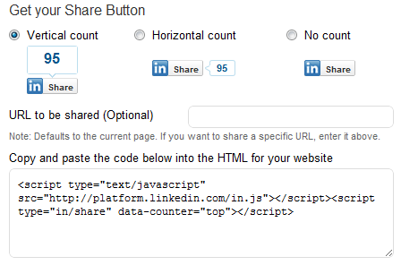 LinkedIn Share button Generator