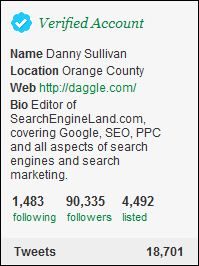 Danny Sullivan Verified Twitter Account