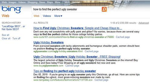 Bing Ugly Sweater Search