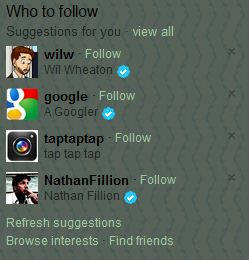 Twitter who to follow section
