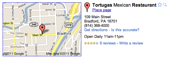 Example Google Maps Listing
