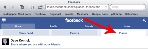 facebook places for mobile (ipad)