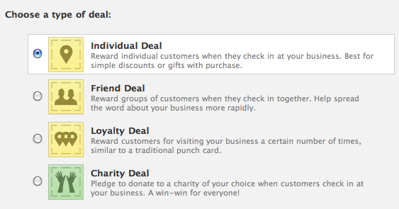 facebook places deal types