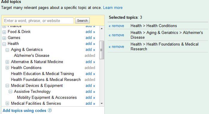 Google Adwords Topic Targeting