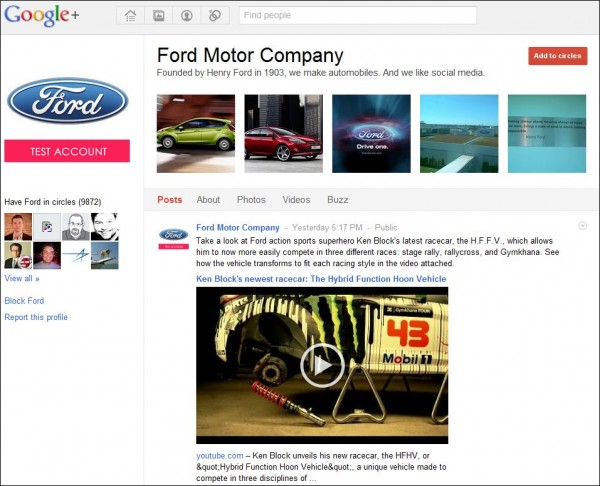 Ford Motor Company on Google Plus