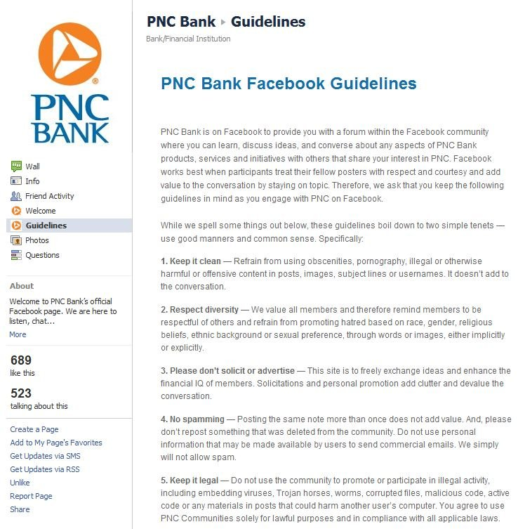 PNC Facebook Guidelines