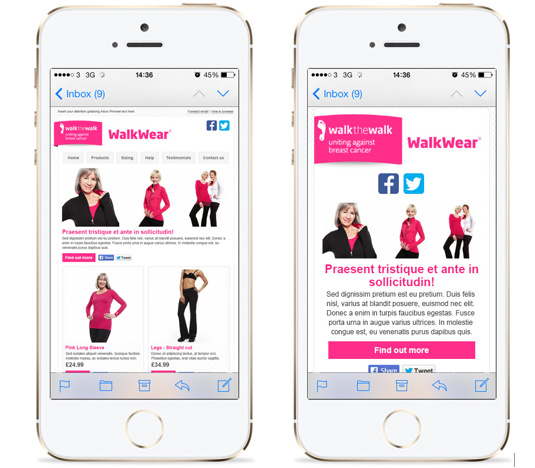 why mobile marketing matters for email marketing campaigns - walkwear phones example