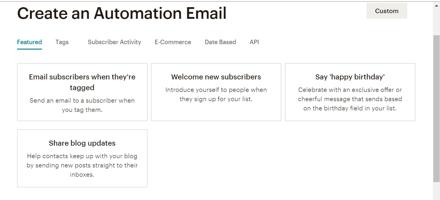 MailChimp Automation options