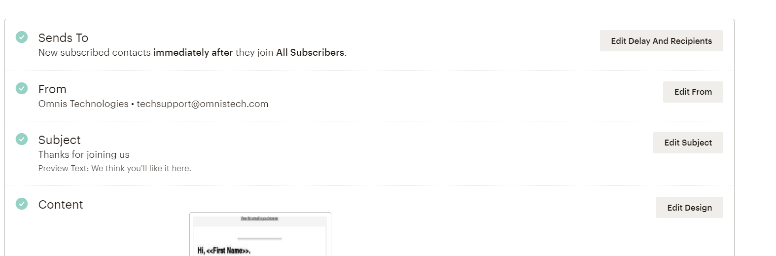 MailChimp email details