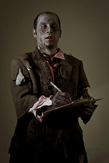content marketing mistakes - zombie writing