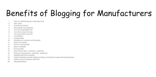 manufacturer blogging