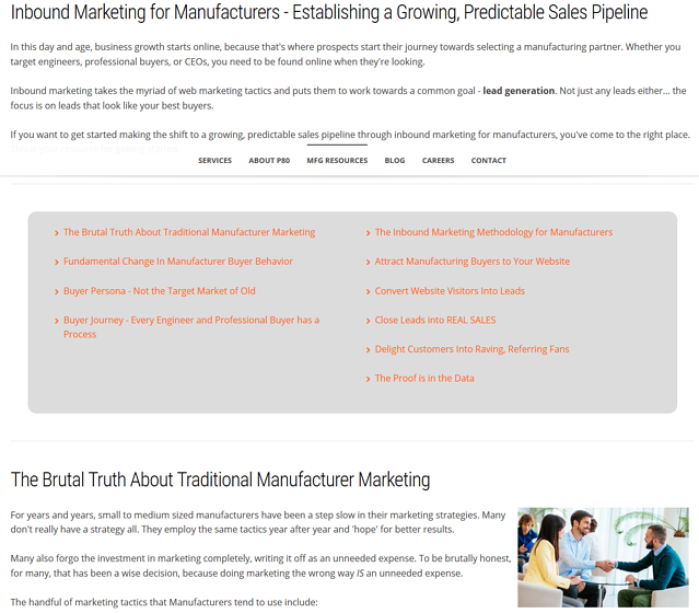 industrial lead generation pillar page