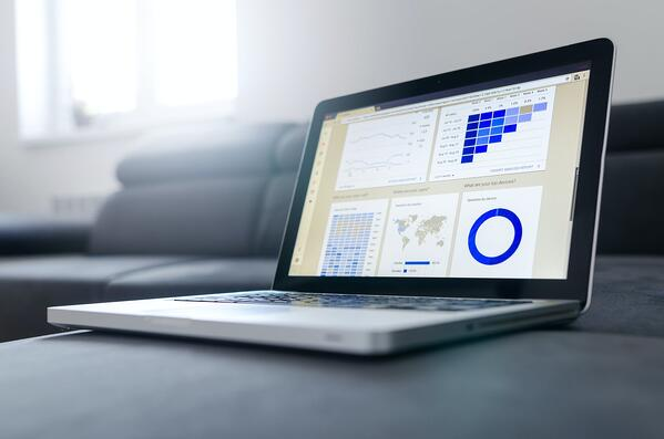 B2B SaaS Marketing Budget - computer with graphs
