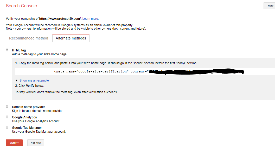 add website to google search console html tag